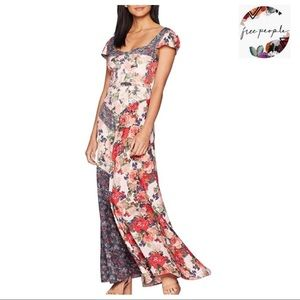 FREE PEOPLE SHORT SLEEVE FLORAL MAXI DRESS